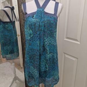 BCBG Peacock Silk tie dress